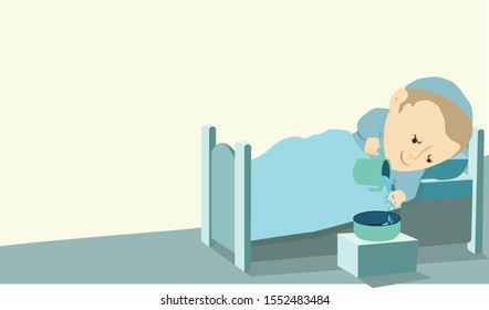 A religious ultra-Orthodox Jewish boy with a headcover skullcap, making netilat yadayim - hands washing  with a natla and a bowl by the bed in the morning. A light blue and turquoise bed.