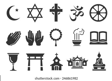 Religious vector illustration icon set. Included the icons as dogma, pray, religion, Buddhism, Christ, Islamic and more.