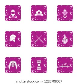 Religious warfare icons set. Grunge set of 9 religious warfare vector icons for web isolated on white background