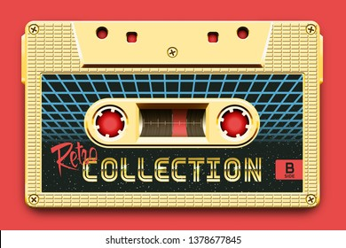 Relistic Golden Audio Cassette, Retro Collection, Mixtape in Style of 80s and Retrowave, Synthwave, Vaporwave or Outrun