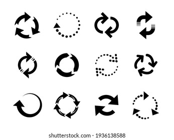 Reload arrows. Circle arrow, connect or recycle digital icons. Connection restart symbols, isolated rotate round group recent vector collection