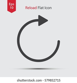 Reload Flat Icon. Simple Web Sign Of Reload Page. Vector Illustrated Symbol