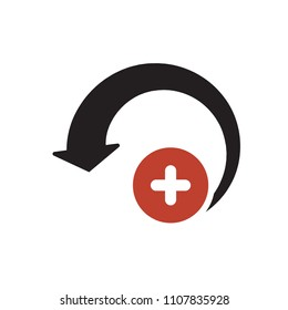 Reload icon, arrows icon with add sign. Reload icon and new, plus, positive symbol. Vector illustration