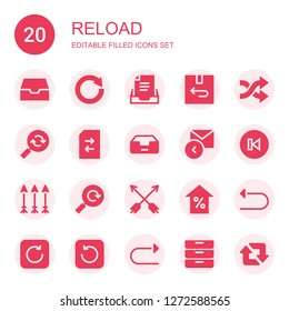 reload icon set. Collection of 20 filled reload icons included Inbox, Circular arrow, Return, Shuffle, Reload, Change, Reply, Back, Arrows, Arrow, Undo, Refresh, Redo, Inboxes