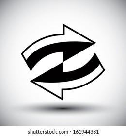 Reload refresh arrows loop vector simple single color icon.