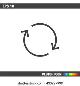 Reload sign line vector icon. Refresh vector icon. Repeat icon. Full rotation sign. Loop symbol.