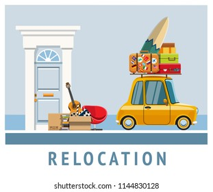 Relocation. Apartment move. Transportation of things from one place to another. Automobile moving to a new place. Relocation to a new place with a car. The car is carrying things. Vector illustration