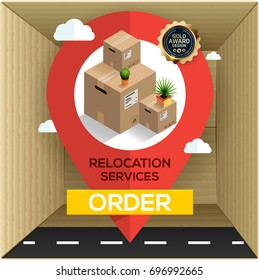 Relocation business services concept, cardboard boxes and big map pointer, transport company.