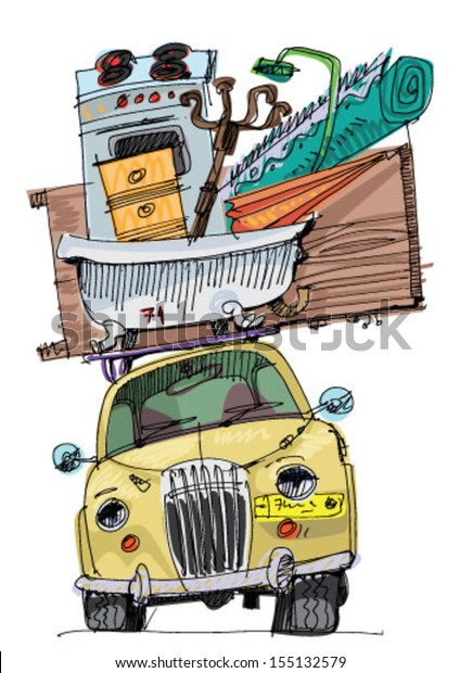 Image vectorielle de stock de déménagement - dessin animé 155132579