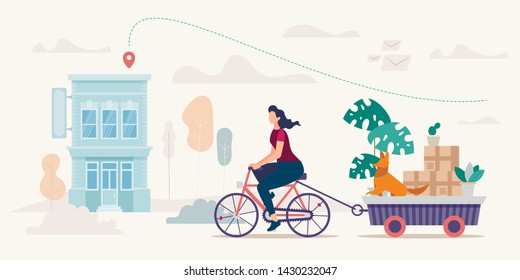 Relocation to New Apartment, House Removal Flat Vector Concept. Woman Riding Bicycle, Pulling Trailer Full of Home Stuff Packed in Cardboard Boxes, Flowerpots with Live Plants and Dog Illustration