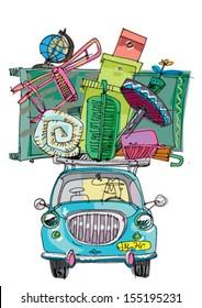 relocation with vintage car - cartoon