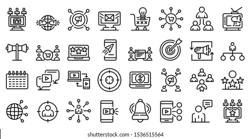 Remarketing icons set. Outline set of remarketing vector icons for web design isolated on white background