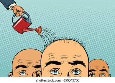 Remedy for hair growth. bald man poured from a watering can. Pop art retro vector illustration