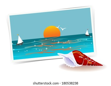 Remembering Of Vacations. Illustration with photo of ocean and shell, memories about past vacation. Traveling theme series. Vector file is layered EPS8, all elements are grouped.