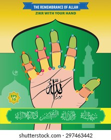 The Remembrance of Allah, Zikr With Your Hand. Subhanallah, Alhamdulillah, Allahuakbar, Laailahailallah. (translation : Zikr = Remember).