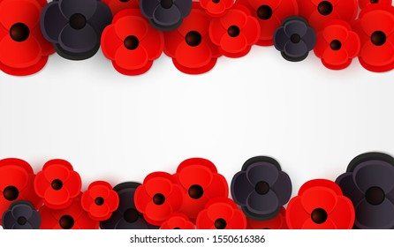 Remembrance, Anzac Day web banner. Paper cut Red Poppy flower - International symbol of peace. Memorial header, social network poster with a place for text. Invitation, print. Vector Illustration EPS