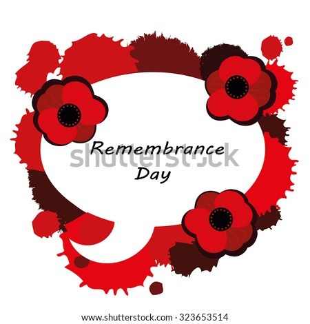 Remembrance Day Card Poppy Flowers Speech Stock Vector Royalty Free