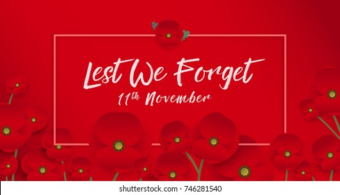 Remembrance day concept, A poppy flower banner vector