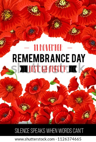 Remembrance Day Greeting Card Poppy Flowers Stock Vector Royalty