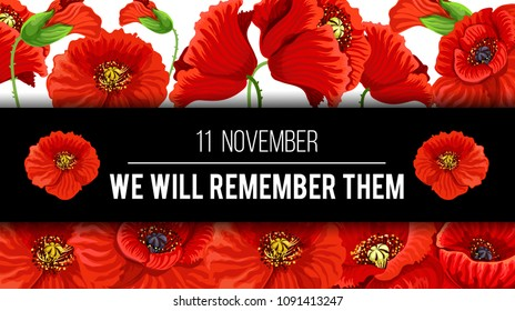 Remembrance Day Lest we Forget 11 November greeting banner or card of poppy flowers and quote on black memory ribbon. Vector poppy design for Commonwealth armistice freedom and veterans commemoration
