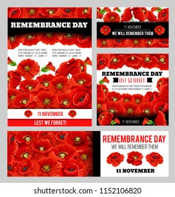 Remembrance Day Lest We Forget poppy banner template set. World War soldier and veteran Memory Day anniversary memorial card with floral frame of red poppy flower and black ribbon