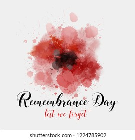 Remembrance Day. Lest we forget. Background with abstract watercolor painted poppy - remembrance day symbol.