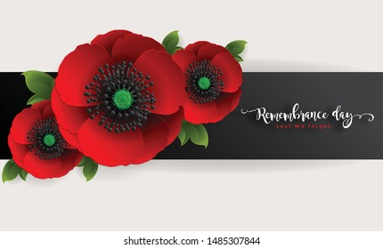 Remembrance day lest we forget. realistic red poppy flower international symbol of peace with paper cut art and craft style on color background.