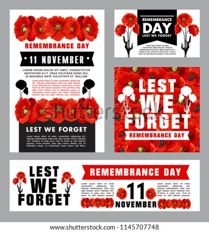 remembrance day memorial card template british stock vector royalty