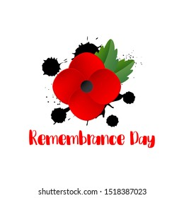 Remembrance Day memorial poster. Red Poppy flower international symbol of peace. Lest We Forget text isolated on white background. Anzac Day. Black Hand drawn blots, splashes. Vector Illustration
