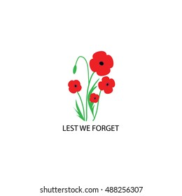 Remembrance Day poppies on white background. Remembrance Day poppy card.  Remembrance day Canada.  Remembrance day UK. Remembrance day Australia. Vector Illustration poppy flower. Lest we forget card