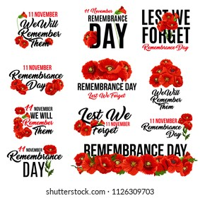 Remembrance Day poppy flower icon. Memorial Day floral symbol of red poppy flower wreath with Lest We Forget text for 11 November Armistice Day anniversary celebration in British Commonwealth