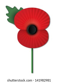 Remembrance Day poppy isolated on white background. EPS10 vector file contains transparencies, blends and gradients.