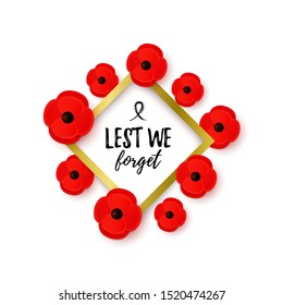 Remembrance Day Poppy Wreath. Paper cut red Poppy flower symbol of peace. Lest We Forget message. Black Ribbon. Anzac Day. Memorial card, banner. Armistice Day. Lapel pins, brooch. Vector Illustration