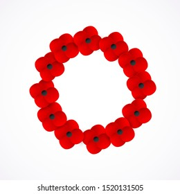 Remembrance Day Poppy Wreath with a place for text. Realistic red Poppy flower symbol of peace. Lest We Forget. Anzac Day. Memorial card, banner. Armistice Day. Lapel pins, brooch. Vector Illustration