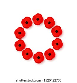 Remembrance Day Poppy Wreath with a place for text. Paper cut red Poppy flower symbol of peace. Lest We Forget. Anzac Day. Memorial card, banner. Armistice Day. Lapel pins, brooch. Vector Illustration