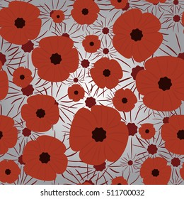 Remembrance Day. Simple pattern, background. Red and gray colors.