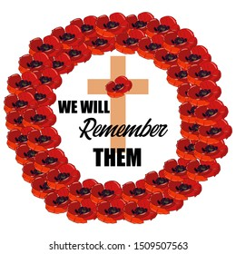 """Remembrance Day Square Greeting Card. Bright red poppies as a symbol of Memorial Day in a large double red wreath. Inside a cross with a poppy and the inscription, """"we will remember them"""""""