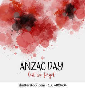 Remembrance day symbol. Anzac Day. Lest we forget lettering. Red watercolor poppies.