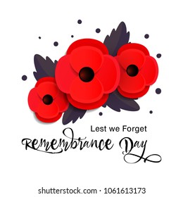 Remembrance Day vector card. Lest We forget. Paper cut Red Poppy flower - international  symbol of peace. Vector Illustration EPS 10 file.