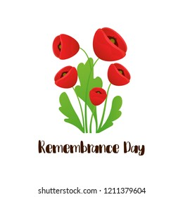 Remembrance Day vector card. Lest We forget. Realistic Red Poppy flower branch - international symbol of peace. Vector Illustration EPS 10 file.