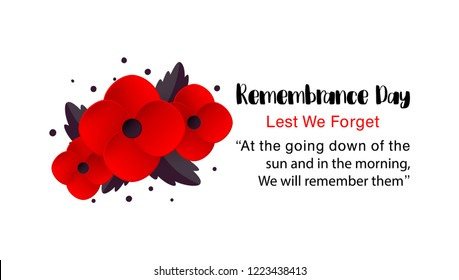 Remembrance Day vector card. Lest We forget. Realistic Red Poppy flower - international symbol of peace. Vector Illustration EPS 10 file.