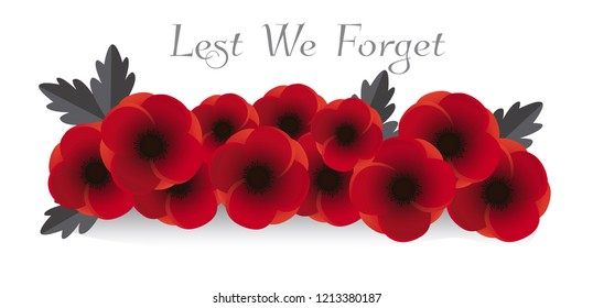 Remembrance day vector. Poppy flowers on white background illustration. 11th of November header illustration.