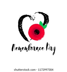 Remembrance Day vector poster. Lest We forget lettering. Hand drawn heart and bright Red Poppy flower - a symbol of International Day of Remembrance. Vector Illustration EPS 10 file.
