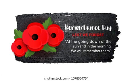 Remembrance Day vector poster on a hand drawn ink background. Lest We forget. Paper cut Red Poppy flower - a symbol of International Day of Remembrance. Vector Illustration EPS 10 file.