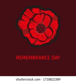 Remembrance poppy and lest we forget the concept banner. Vector illustration with hand-drawn red poppy to Anzac day and May 8th also known as Armistice day.