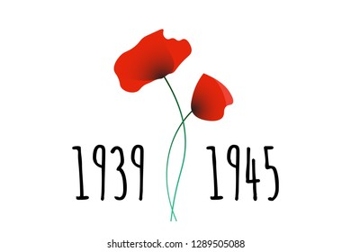 Remembrance and Reconciliation Day vector illustration with symbolic commemorative red poppy flowers and World War II years