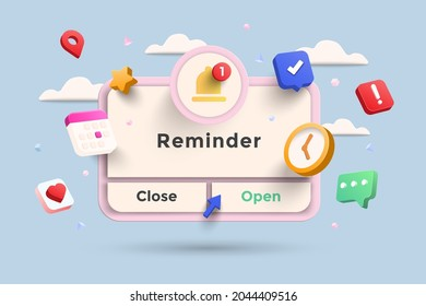 Reminder 3D Illustration, Notifications page with floating elements. Business planning ,events, reminder and timetable with 3d rendering. Vector Illustration.