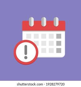 Reminder or deadline symbol. Calendar flat icon vector llustration