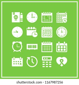reminder icon. 16 reminder vector set. month calendar, calendar times, monthly calendar and alarm clock icons for web and design about reminder theme