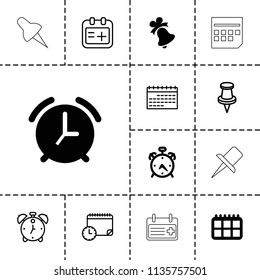 Reminder icon. collection of 13 reminder filled and outline icons such as alarm, calendar, pin, medical appointment. editable reminder icons for web and mobile.